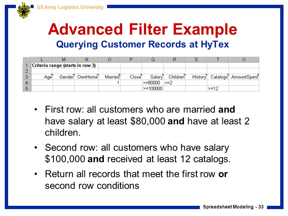 Advanced Filter Example Querying Customer Records at HyTex