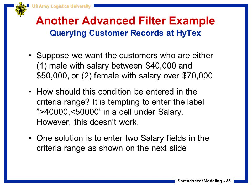 Another Advanced Filter Example Querying Customer Records at HyTex