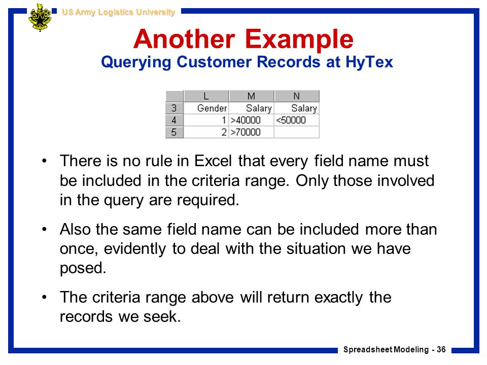 Another Example Querying Customer Records at HyTex