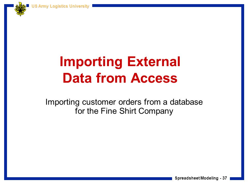 Importing External Data from Access