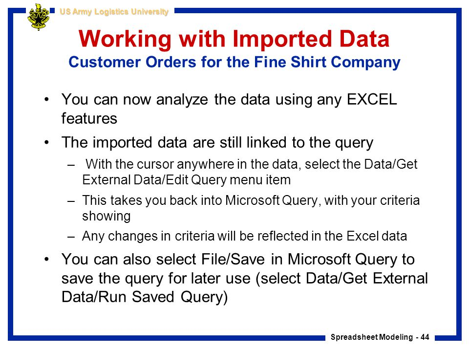 Working with Imported Data Customer Orders for the Fine Shirt Company