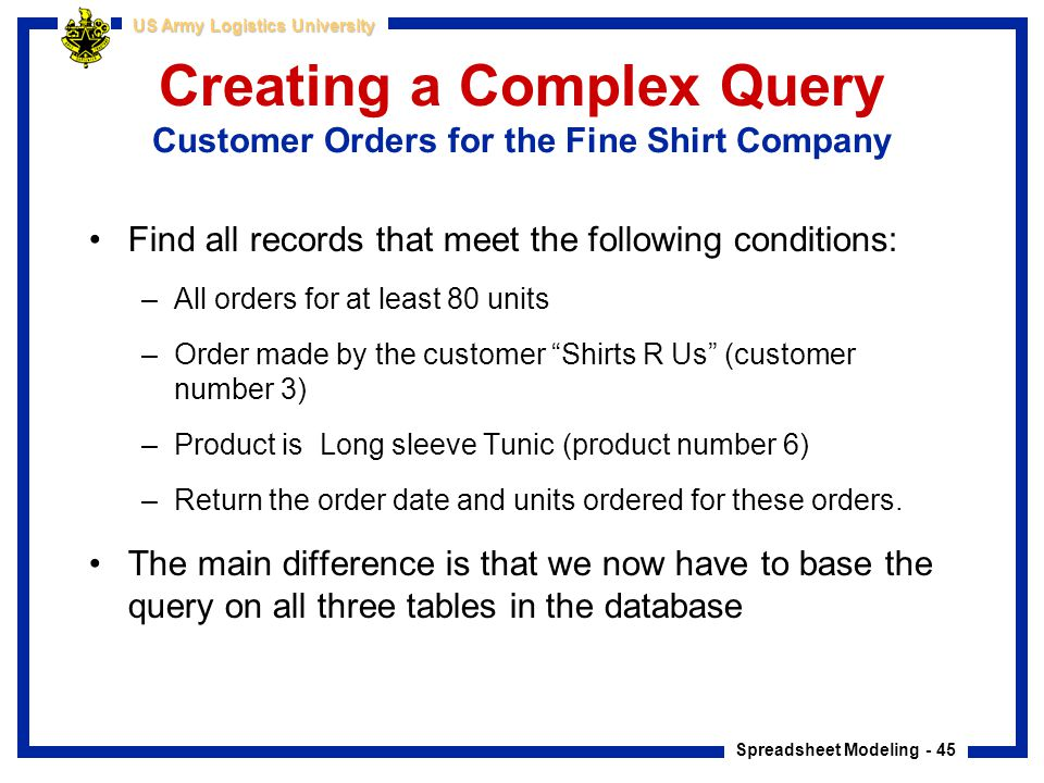 Creating a Complex Query Customer Orders for the Fine Shirt Company