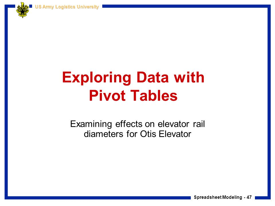 Exploring Data with Pivot Tables