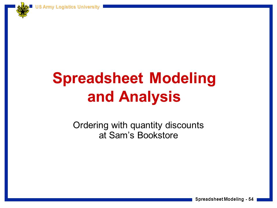 Spreadsheet Modeling and Analysis