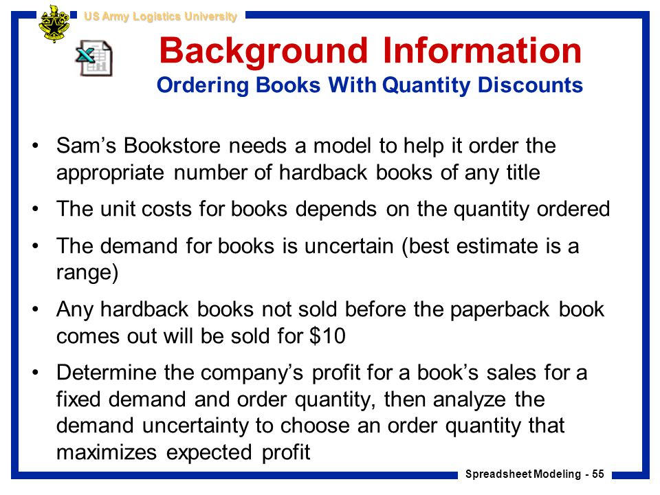 Background Information Ordering Books With Quantity Discounts