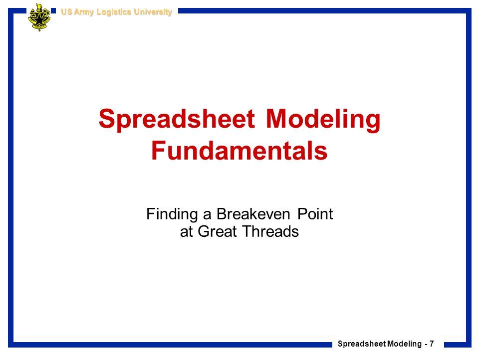 Spreadsheet Modeling Fundamentals