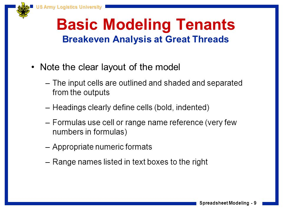 Basic Modeling Tenants Breakeven Analysis at Great Threads