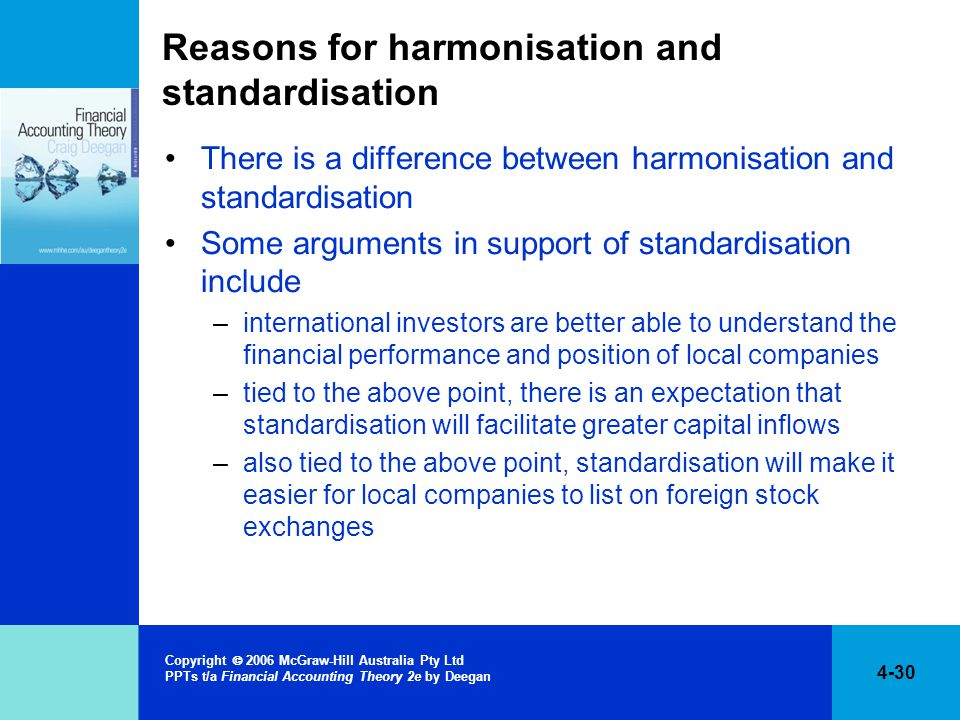 Reasons for harmonisation and standardisation