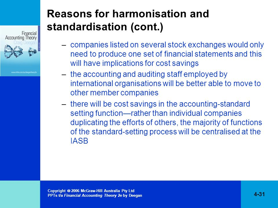 Reasons for harmonisation and standardisation (cont.)