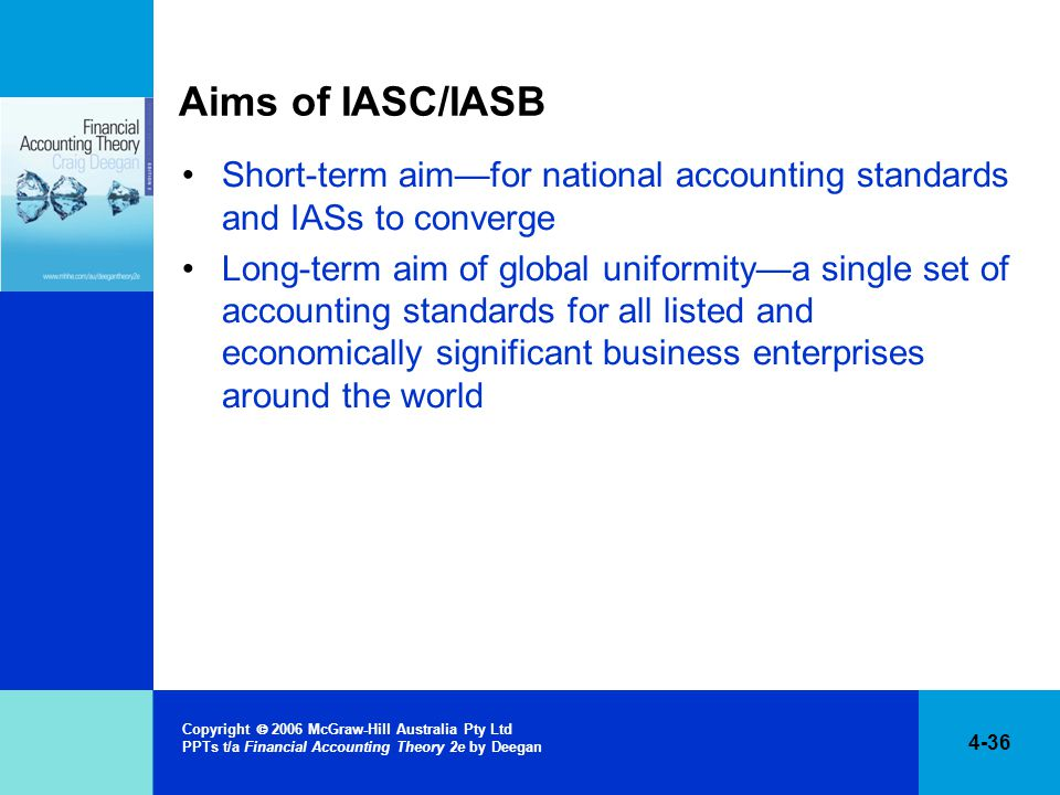 Aims of IASC/IASB Short-term aim—for national accounting standards and IASs to converge.