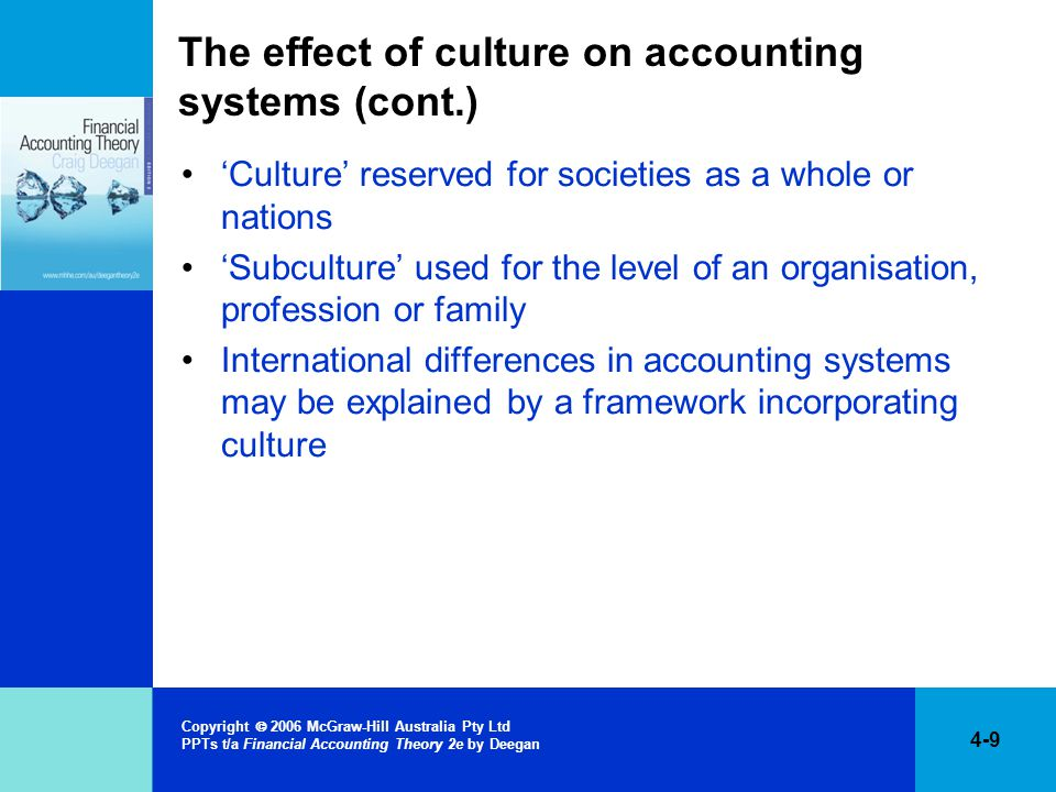 The effect of culture on accounting systems (cont.)