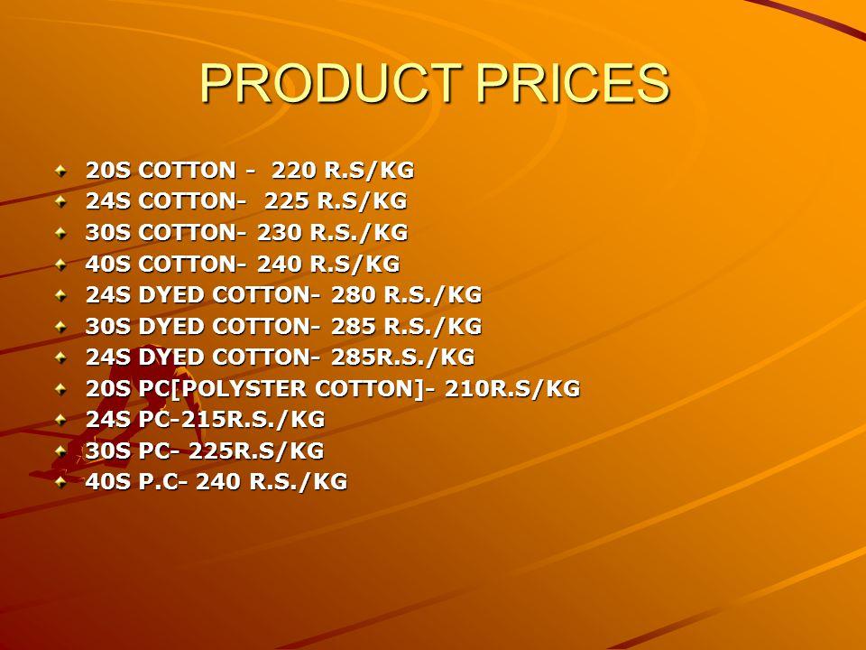 PRODUCT PRICES 20S COTTON - 220 R.S/KG 24S COTTON- 225 R.S/KG