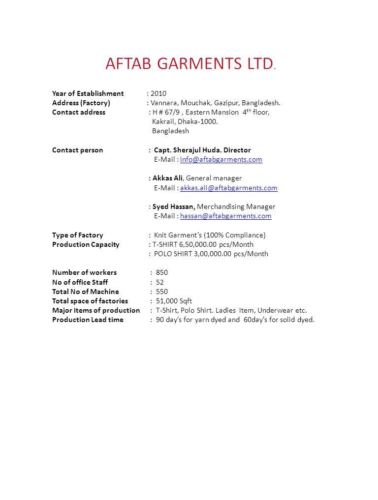 AFTAB GARMENTS LTD. Year of Establishment : 2010