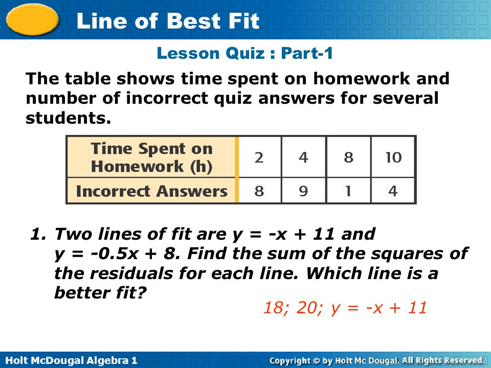 Lesson Quiz : Part-1 The table shows time spent on homework and number of incorrect quiz answers for several students.
