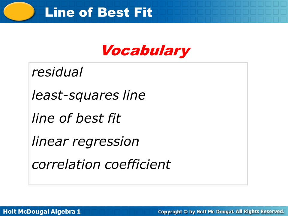 Vocabulary residual least-squares line line of best fit