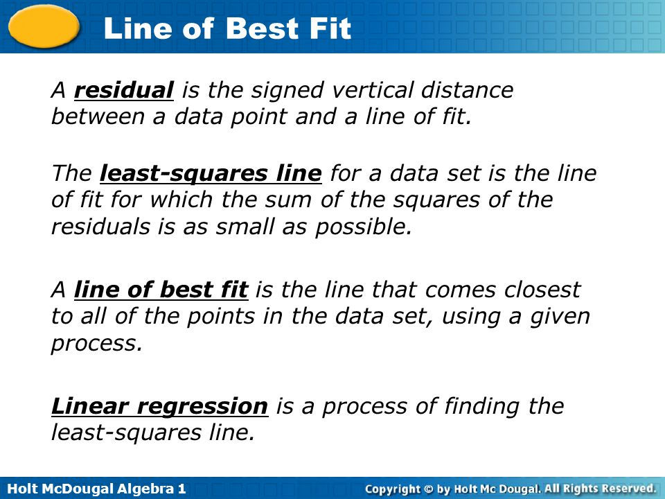 A residual is the signed vertical distance between a data point and a line of fit.