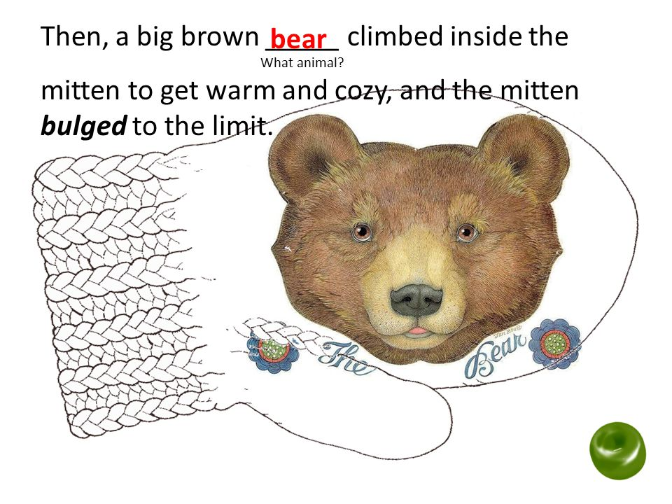Then, a big brown _____ climbed inside the What animal