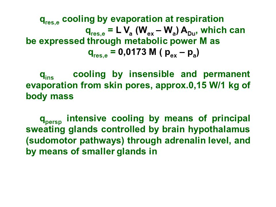 qres,e cooling by evaporation at respiration