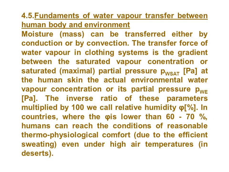 4.5.Fundaments of water vapour transfer between human body and environment