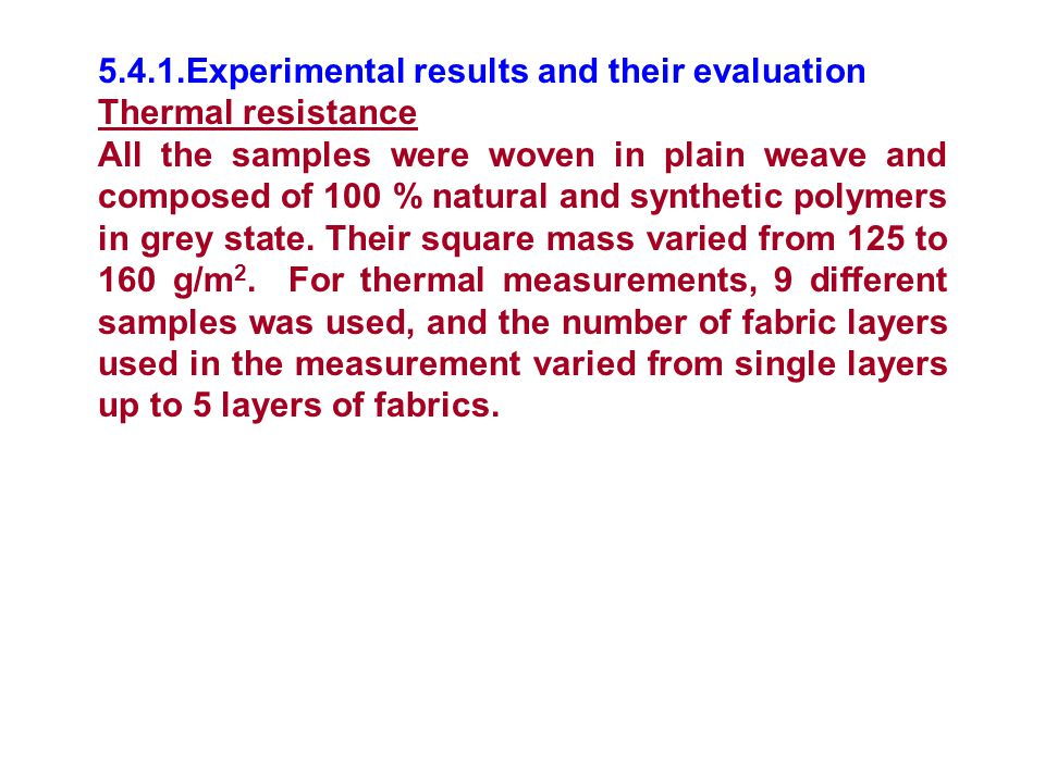 5.4.1.Experimental results and their evaluation