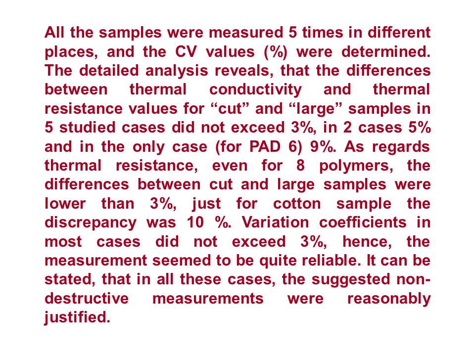 All the samples were measured 5 times in different places, and the CV values (%) were determined.
