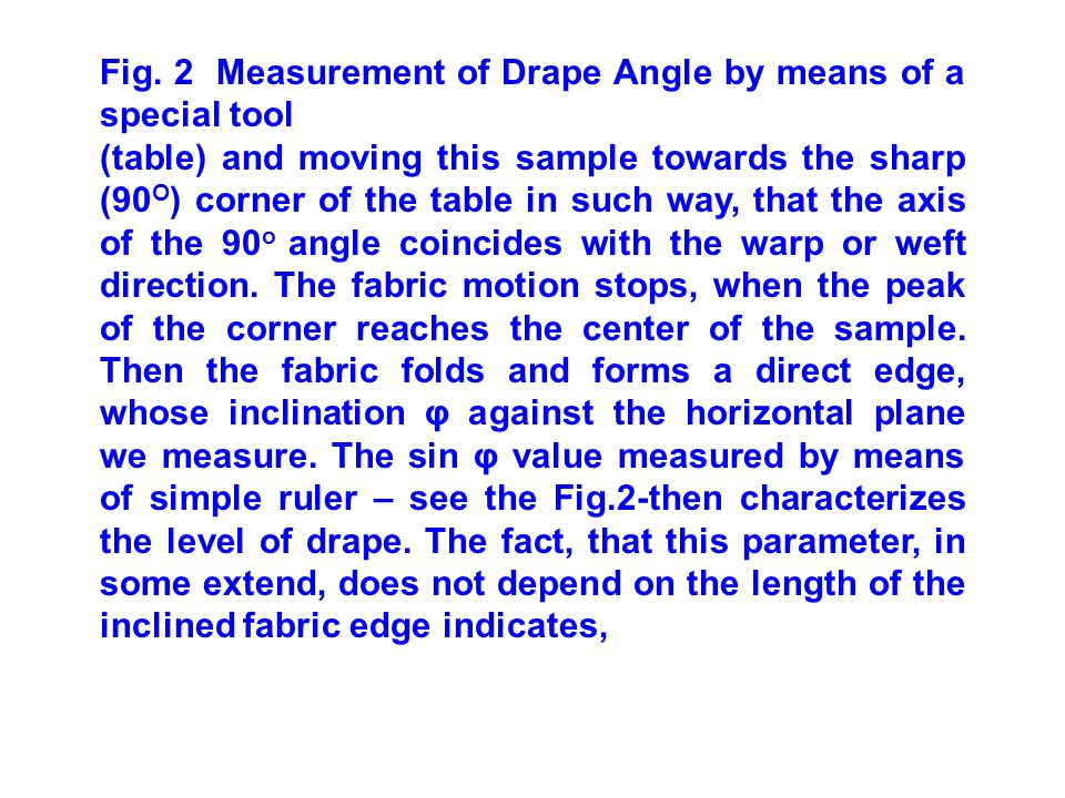 Fig. 2 Measurement of Drape Angle by means of a special tool