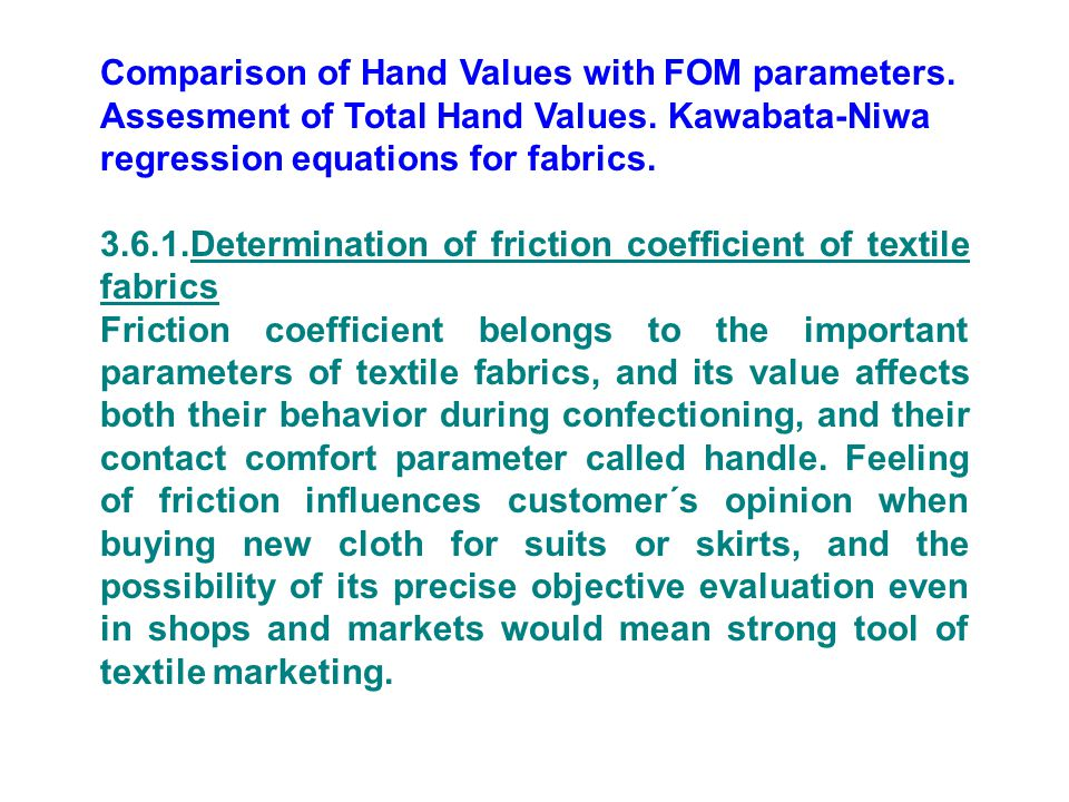 Comparison of Hand Values with FOM parameters