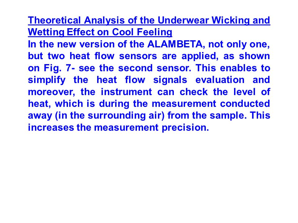 Theoretical Analysis of the Underwear Wicking and Wetting Effect on Cool Feeling