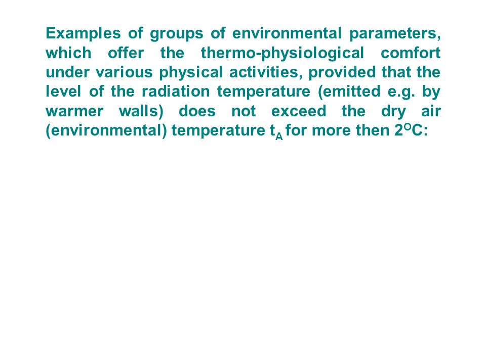 Examples of groups of environmental parameters, which offer the thermo-physiological comfort under various physical activities, provided that the level of the radiation temperature (emitted e.g. by warmer walls) does not exceed the dry air (environmental) temperature tA for more then 2OC: