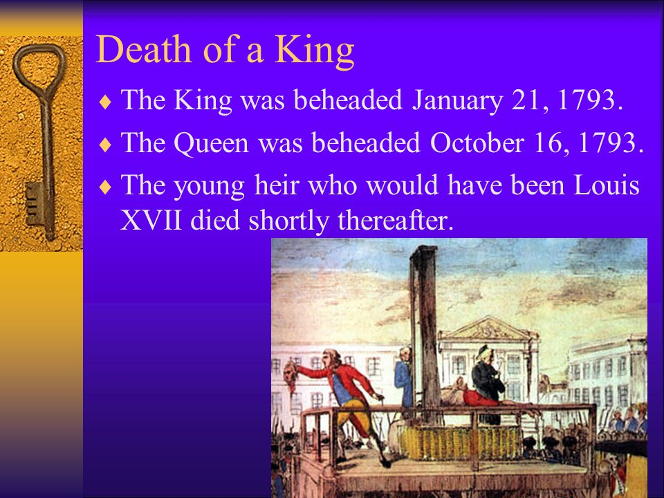 Death of a King The King was beheaded January 21, 1793.