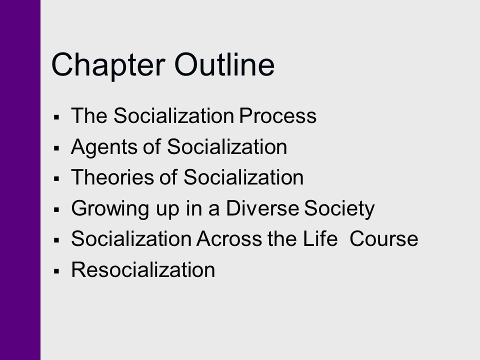 Chapter Outline The Socialization Process Agents of Socialization