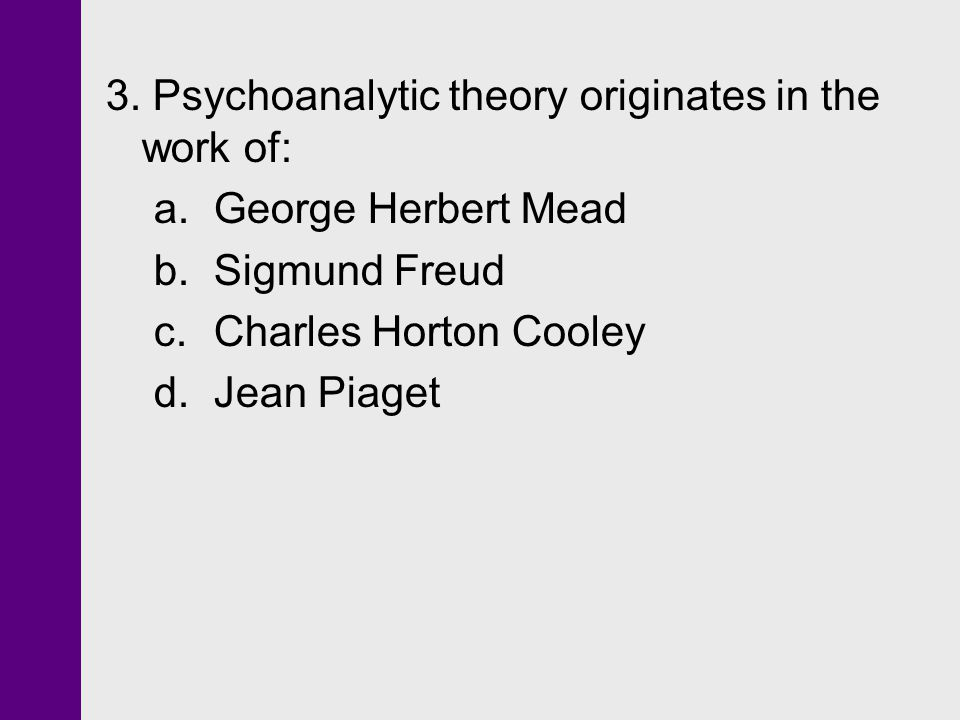 3. Psychoanalytic theory originates in the work of: