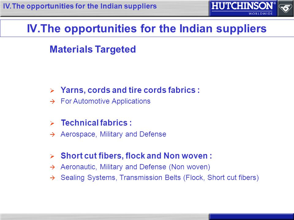 IV.The opportunities for the Indian suppliers
