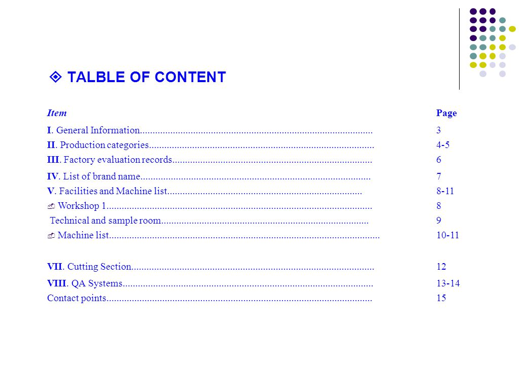  TALBLE OF CONTENT Item Page