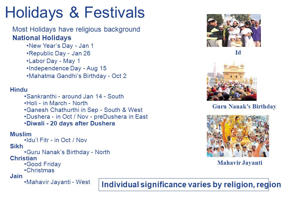 Holidays & Festivals Sankranti. Hindu. Sankranthi - around Jan 14 - South. Holi - in March - North.
