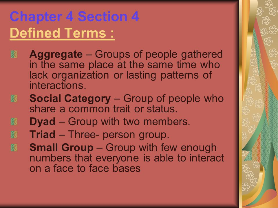 Chapter 4 Section 4 Defined Terms :