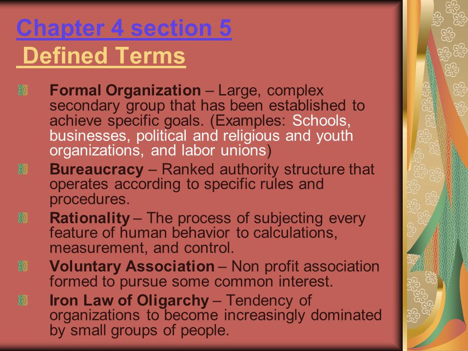 Chapter 4 section 5 Defined Terms