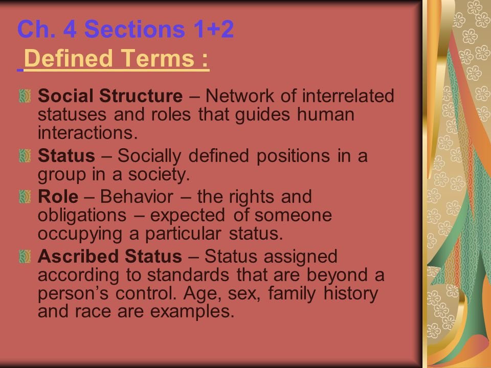 Ch. 4 Sections 1+2 Defined Terms :