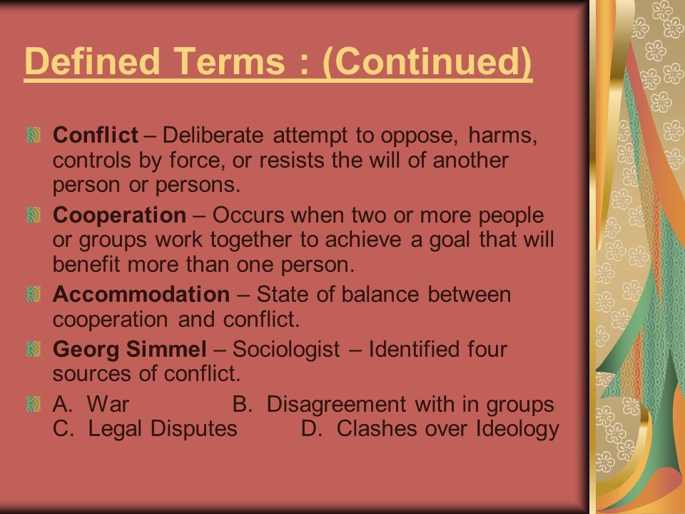 Defined Terms : (Continued)