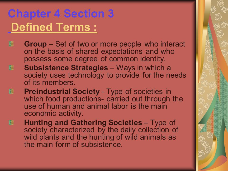 Chapter 4 Section 3 Defined Terms :