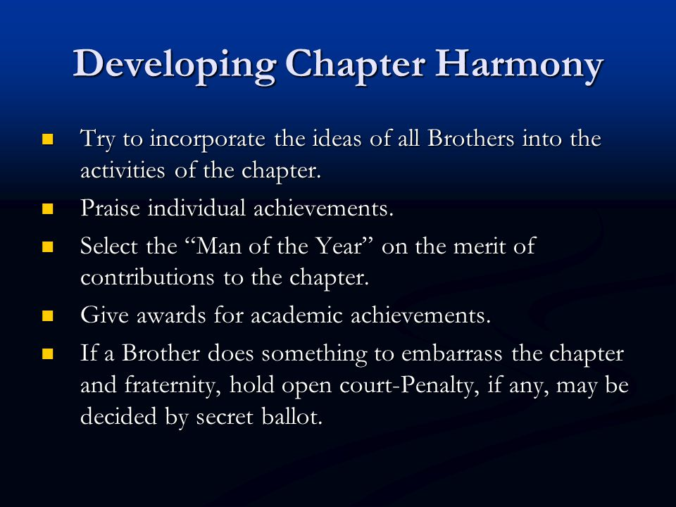 Developing Chapter Harmony