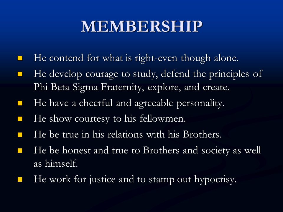 MEMBERSHIP He contend for what is right-even though alone.