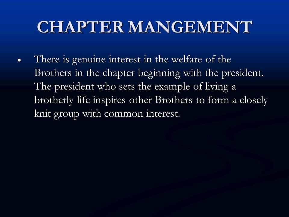 CHAPTER MANGEMENT