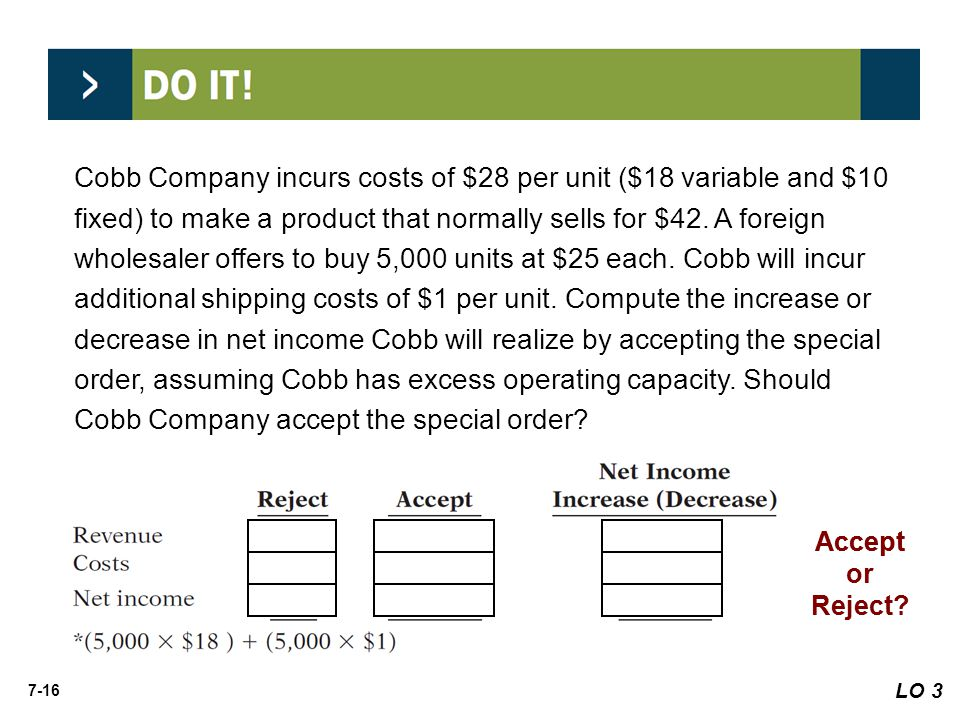 Cobb Company incurs costs of $28 per unit ($18 variable and $10 fixed) to make a product that normally sells for $42. A foreign wholesaler offers to buy 5,000 units at $25 each. Cobb will incur additional shipping costs of $1 per unit. Compute the increase or decrease in net income Cobb will realize by accepting the special order, assuming Cobb has excess operating capacity. Should Cobb Company accept the special order