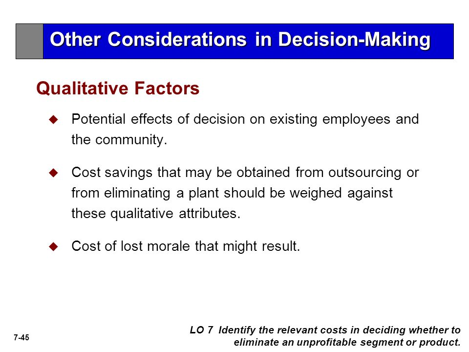 Other Considerations in Decision-Making
