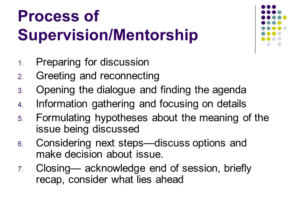Process of Supervision/Mentorship