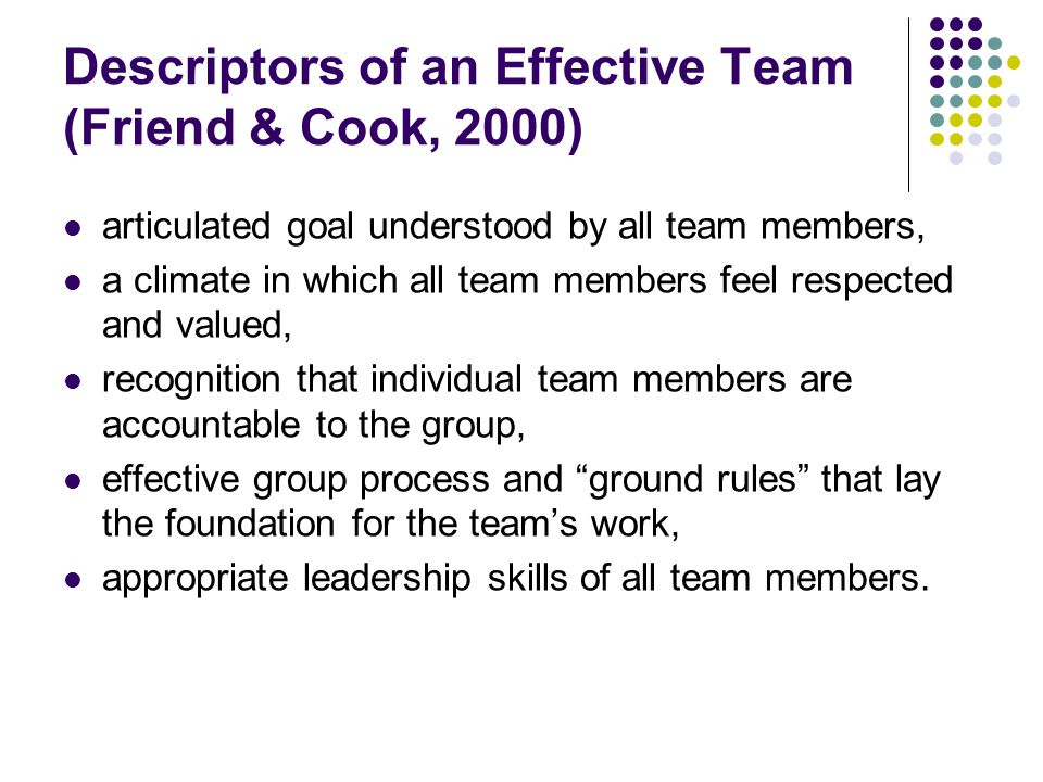 Descriptors of an Effective Team (Friend & Cook, 2000)