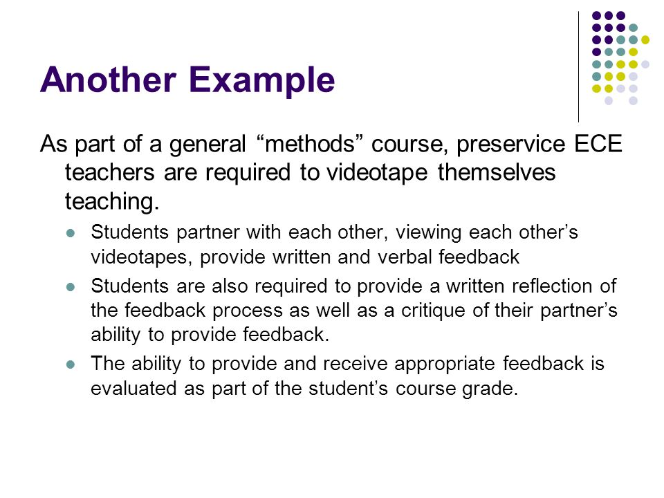 Another Example As part of a general methods course, preservice ECE teachers are required to videotape themselves teaching.
