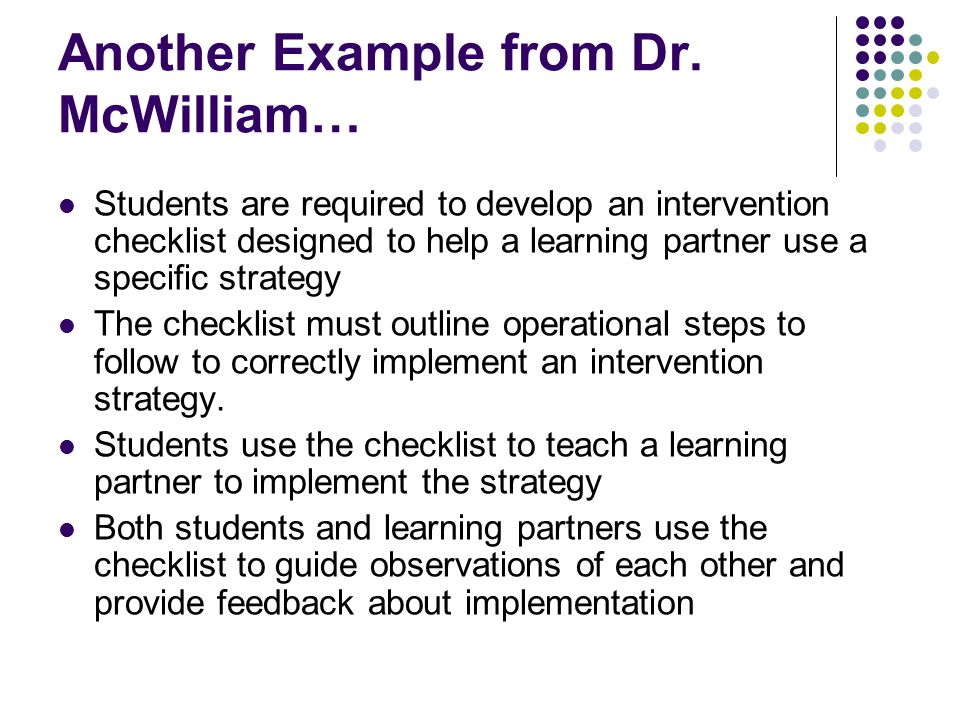 Another Example from Dr. McWilliam…