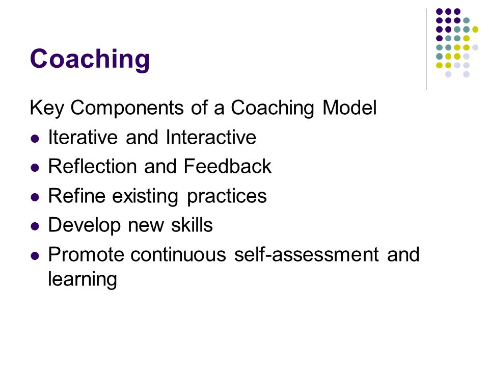 Coaching Key Components of a Coaching Model Iterative and Interactive